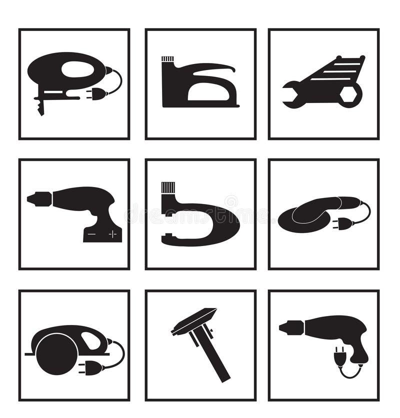 Iconos fijados, silueta negra del mecánico de las herramientas Herramientas del logotipo del elemento, aisladas en un fondo blanc ilustración del vector