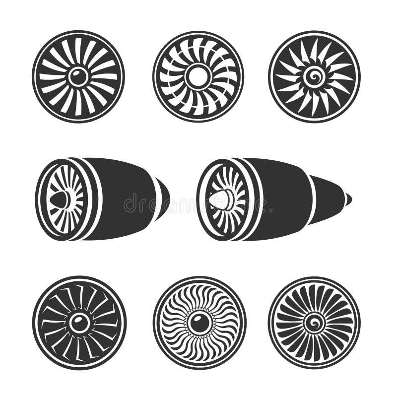 Iconos fijados, siluetas de las turbinas del motor del aeroplano stock de ilustración