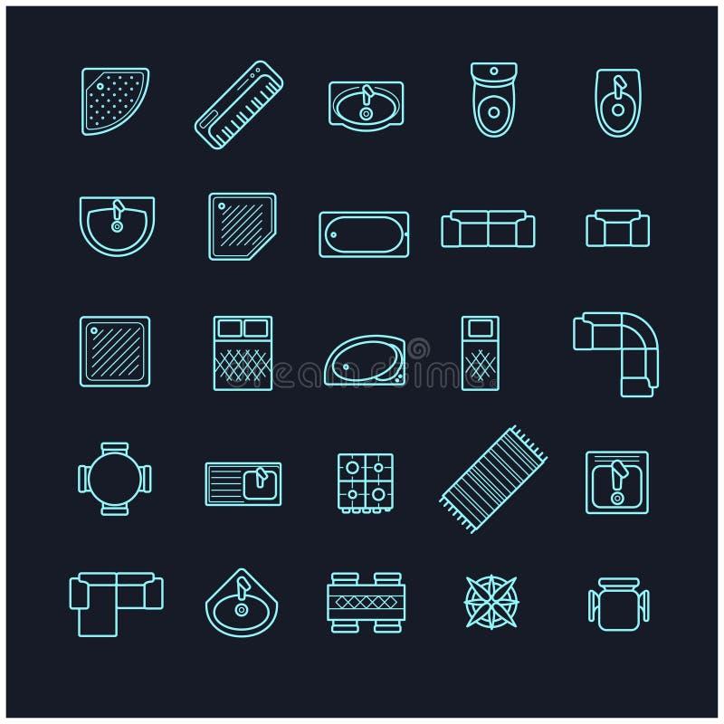 Iconos fijados, visión superior de los muebles ilustración del vector