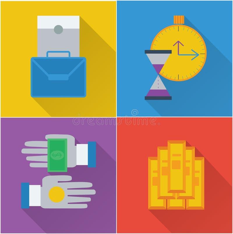 Iconos financieros en un diseño plano libre illustration