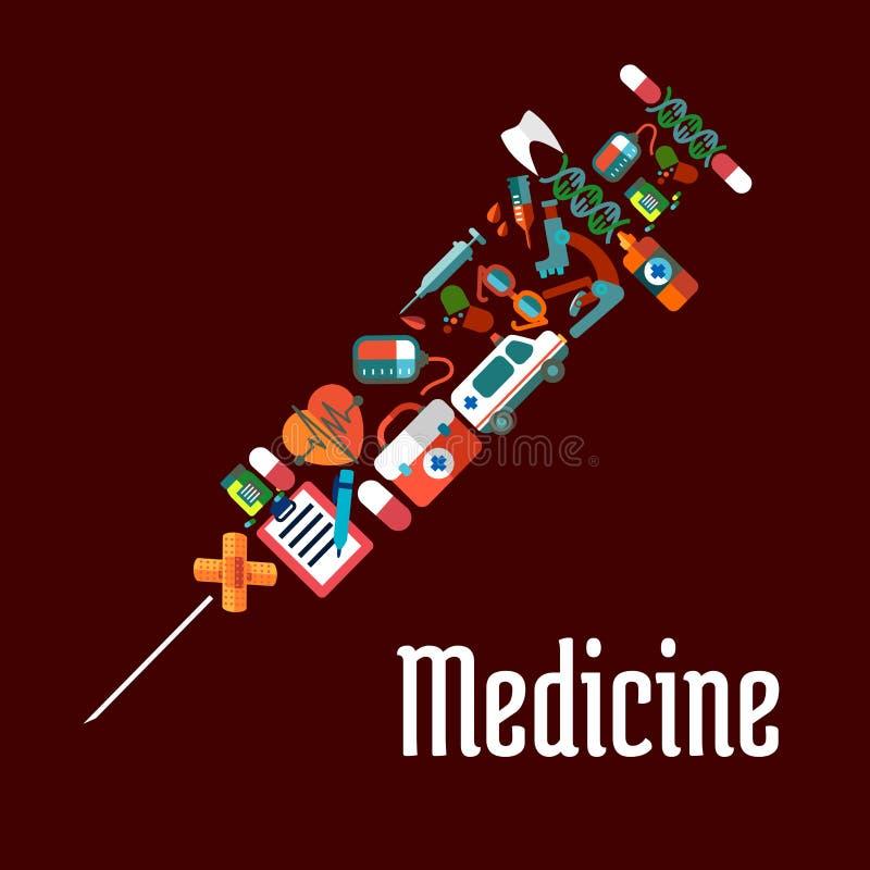 Iconos formados jeringuilla de la atención sanitaria o de la medicina ilustración del vector