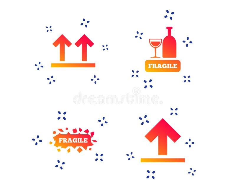 Iconos fr?giles Entrega delicada del paquete Vector stock de ilustración