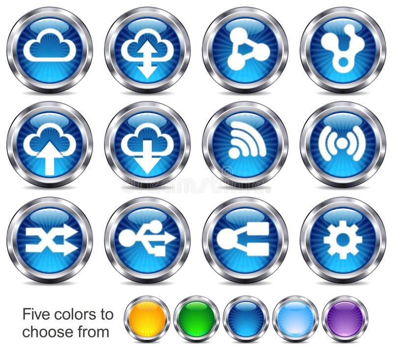 Iconos futuros de la tecnología stock de ilustración