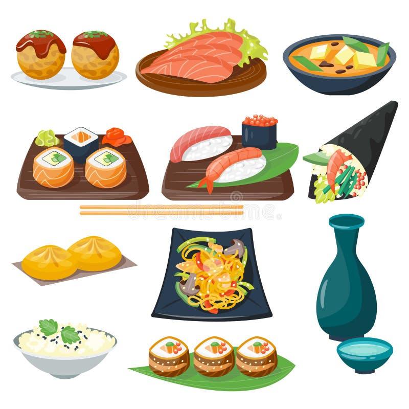 Iconos gastrónomos sanos planos de la comida tradicional japonesa de la cocina del sushi y cultura de placa oriental de la comida ilustración del vector