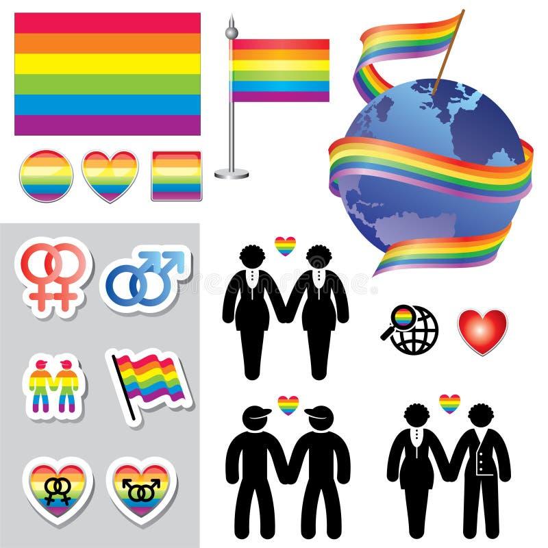 Iconos gay del mapa stock de ilustración