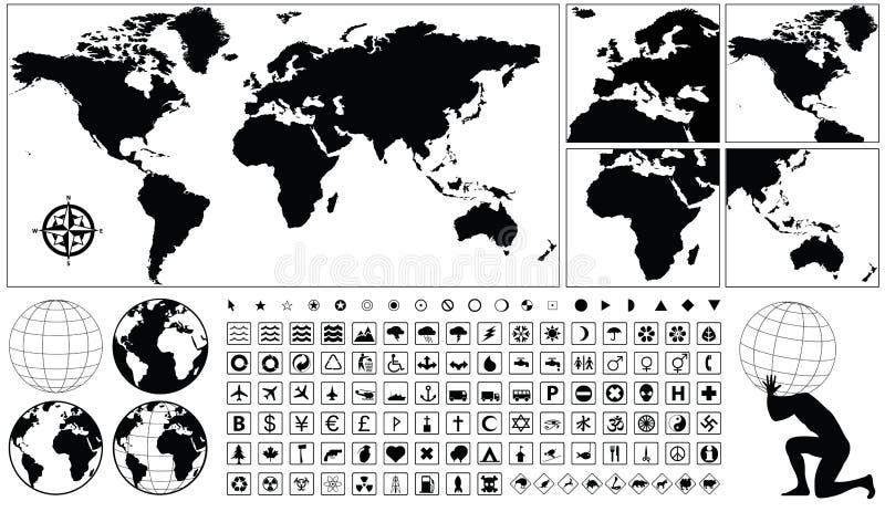 Iconos geográficos stock de ilustración