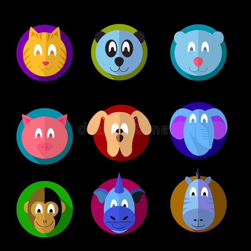 Iconos geométricos animales de la historieta stock de ilustración