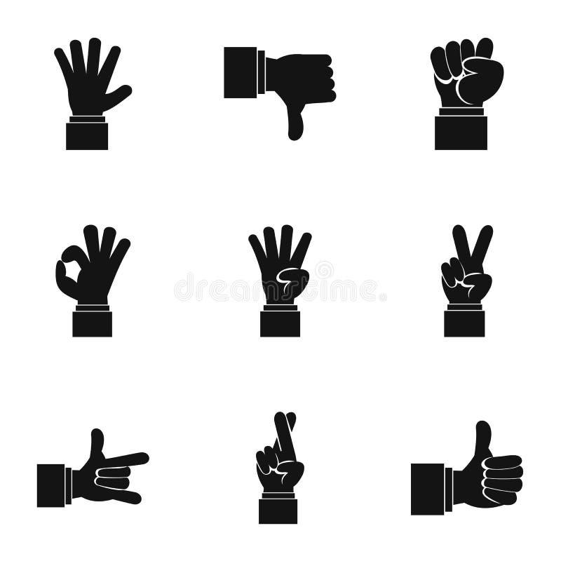 Iconos gestuales fijados, estilo simple ilustración del vector