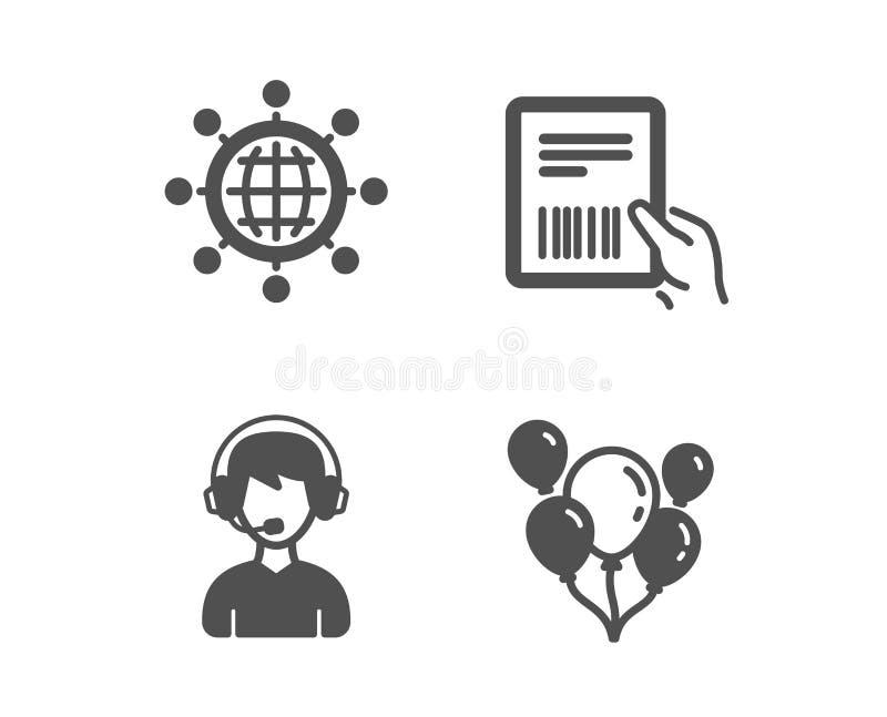 Iconos globo, de la factura internacionales del consultor y del paquete Los globos firman Vector stock de ilustración