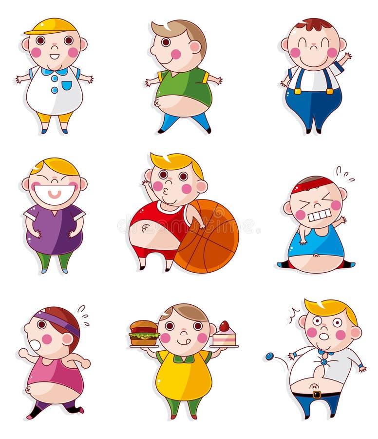 Iconos gordos de la gente de la historieta libre illustration