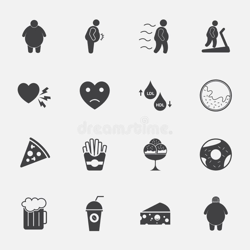 Iconos gordos del hombre y de la comida basura fijados stock de ilustración