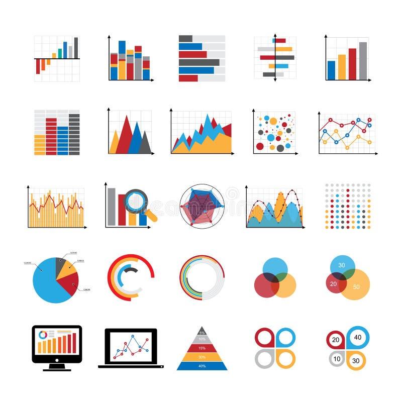 Iconos gráficos de los diagramas de cartas y de los gráficos de negocio fijados ilustración del vector