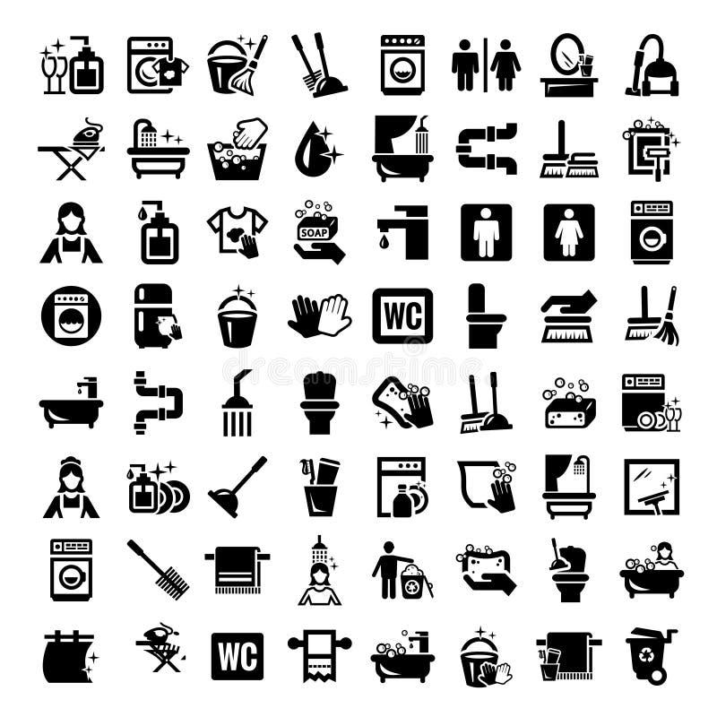 Iconos grandes de la limpieza fijados ilustración del vector