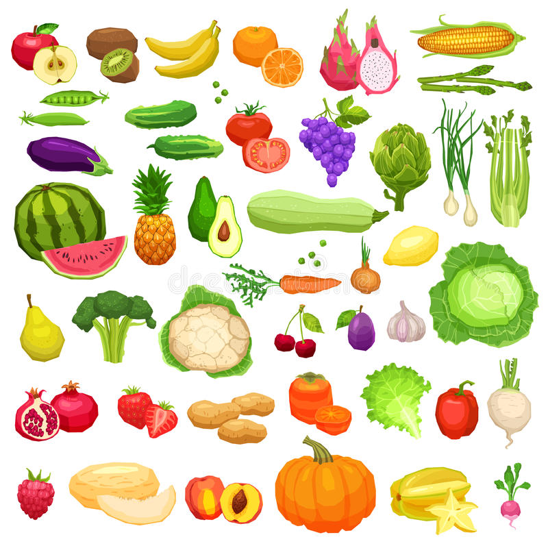 Iconos grandes de las verduras y de las frutas fijados en estilo plano ilustración del vector