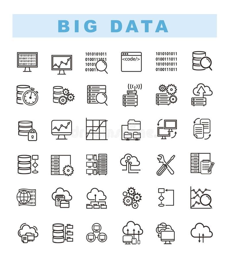Iconos grandes de los datos fijados e iconos del analytics del web fijados ilustración del vector