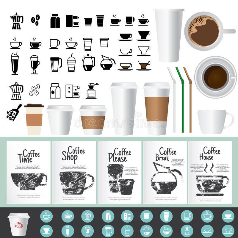 Iconos grandes del café y del té y tarjetas de felicitación fijadas libre illustration