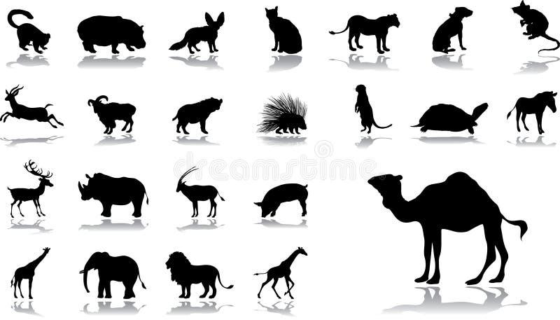 Iconos grandes del conjunto - 11 animales stock de ilustración