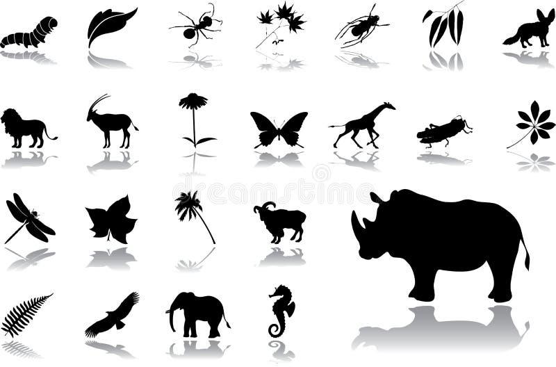 Iconos grandes del conjunto - 16. Naturaleza ilustración del vector
