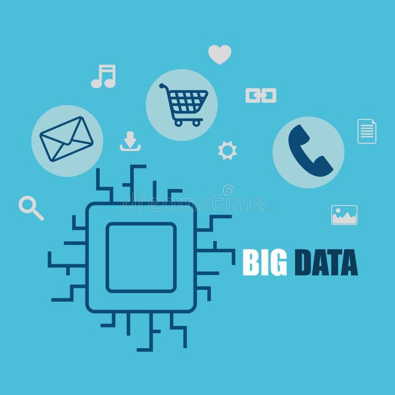 Iconos grandes del conjunto de datos ilustración del vector