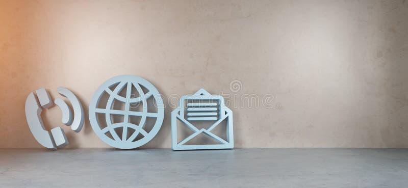 Iconos grandes del contacto en la representación moderna del interior 3D stock de ilustración