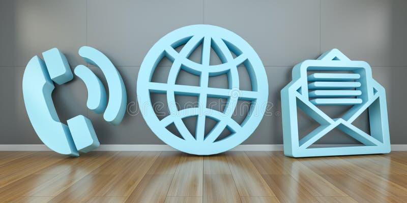 Iconos grandes del contacto en la representación moderna del interior 3D libre illustration