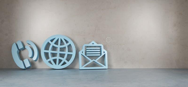 Iconos grandes del contacto en la representación moderna del interior 3D ilustración del vector