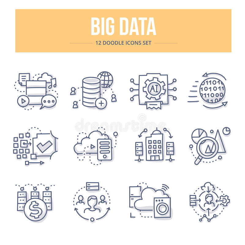 Iconos grandes del garabato de los datos libre illustration