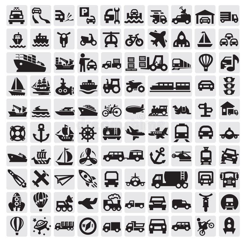 Iconos grandes del transporte ilustración del vector