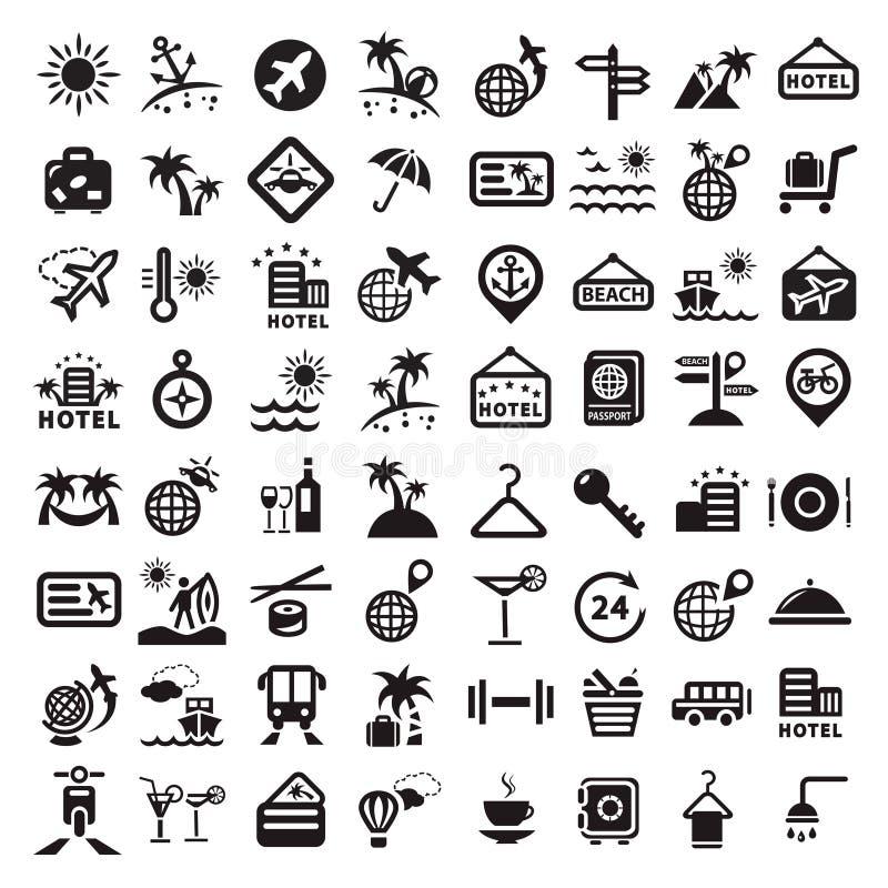 Iconos grandes del viaje fijados stock de ilustración