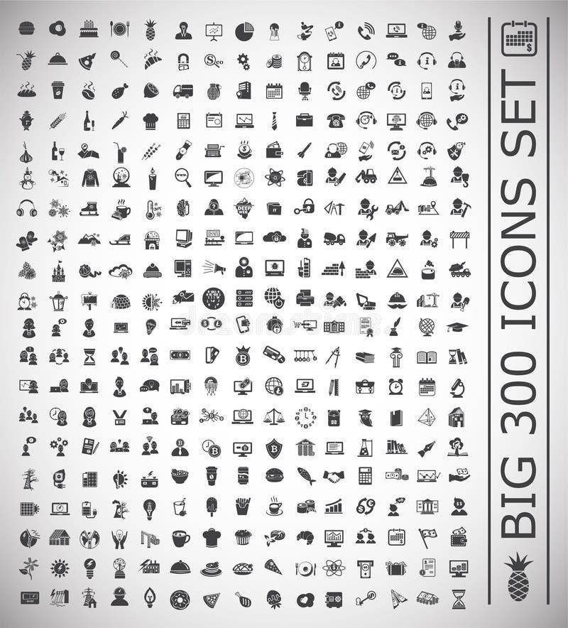 300 iconos grandes fijados en el fondo blanco para el gráfico y el diseño web, muestra simple moderna del vector Concepto del Int libre illustration