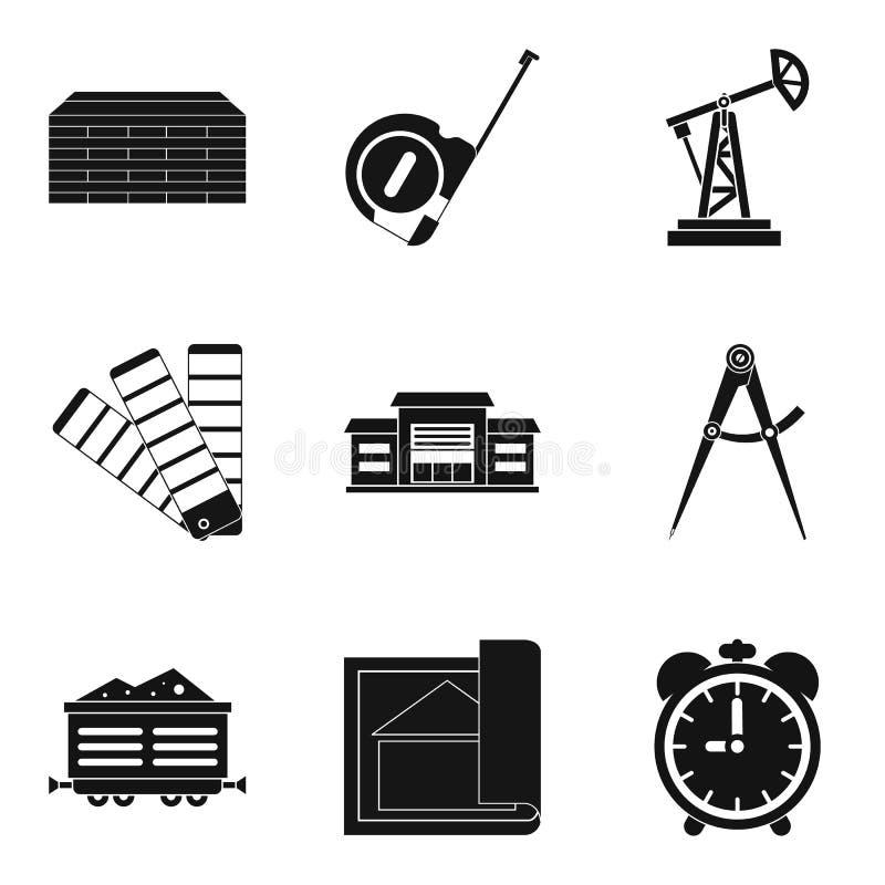 Iconos grandes fijados, estilo simple de la compañía stock de ilustración