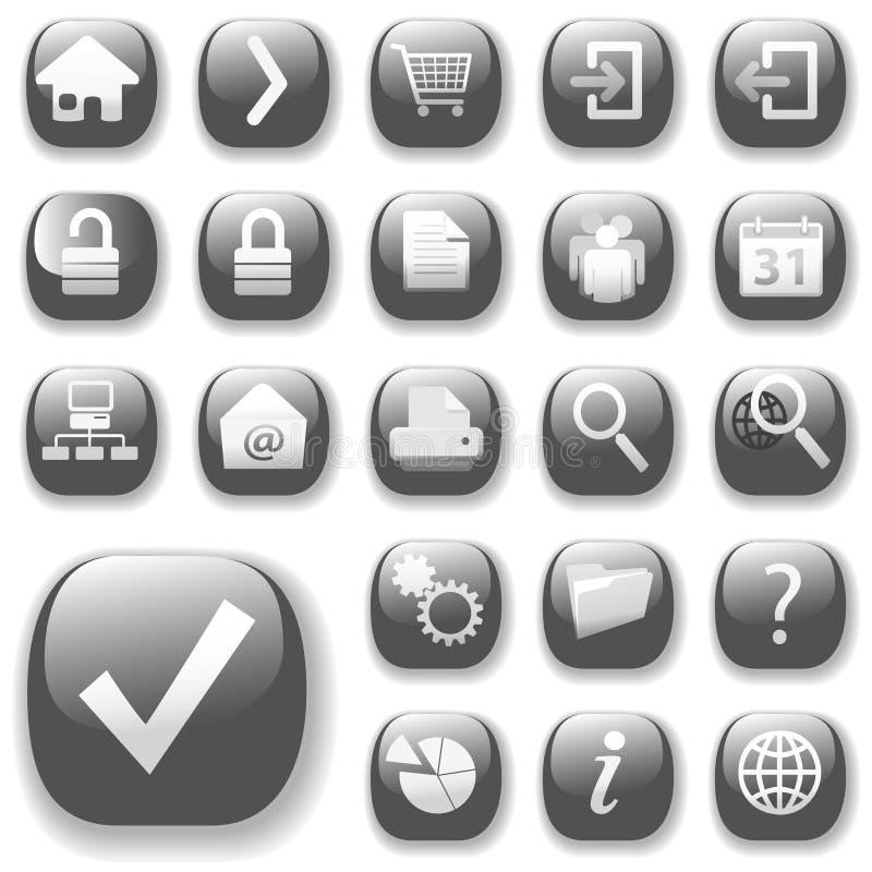 Iconos Gray_DropShadows del Web ilustración del vector