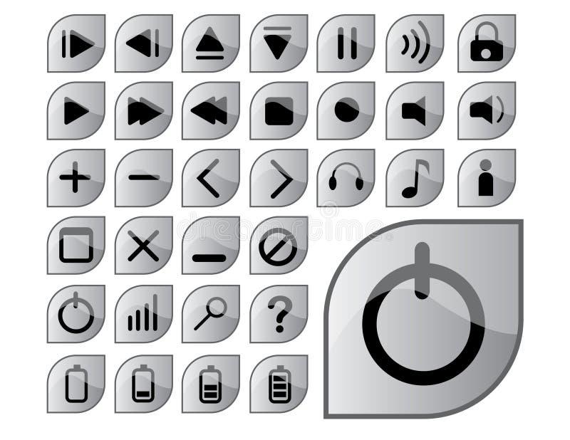 Iconos grises brillantes stock de ilustración