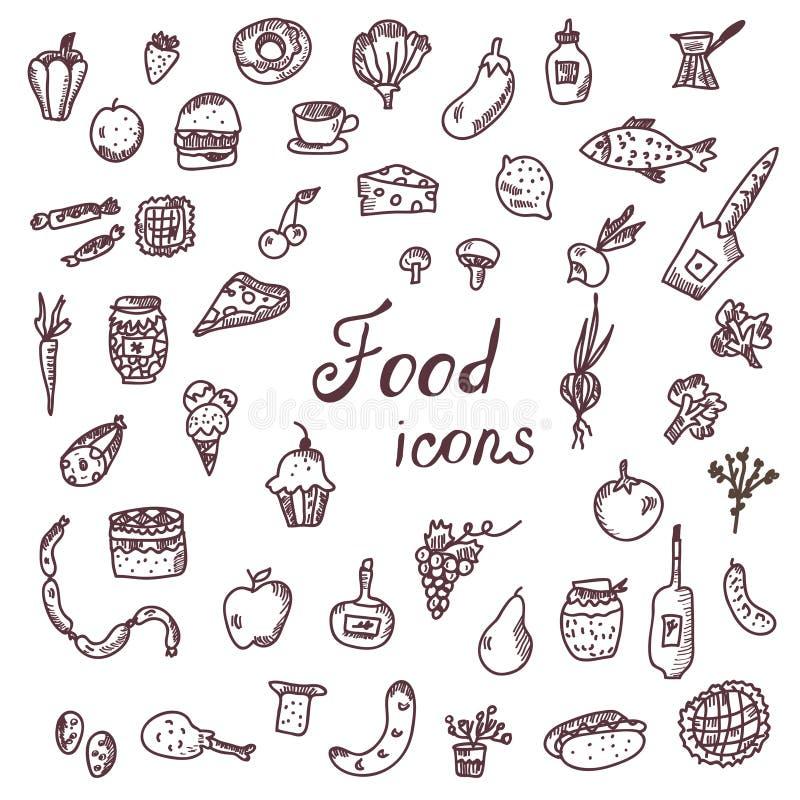 Iconos Handdrawn de la comida, sistema divertido del estilo stock de ilustración