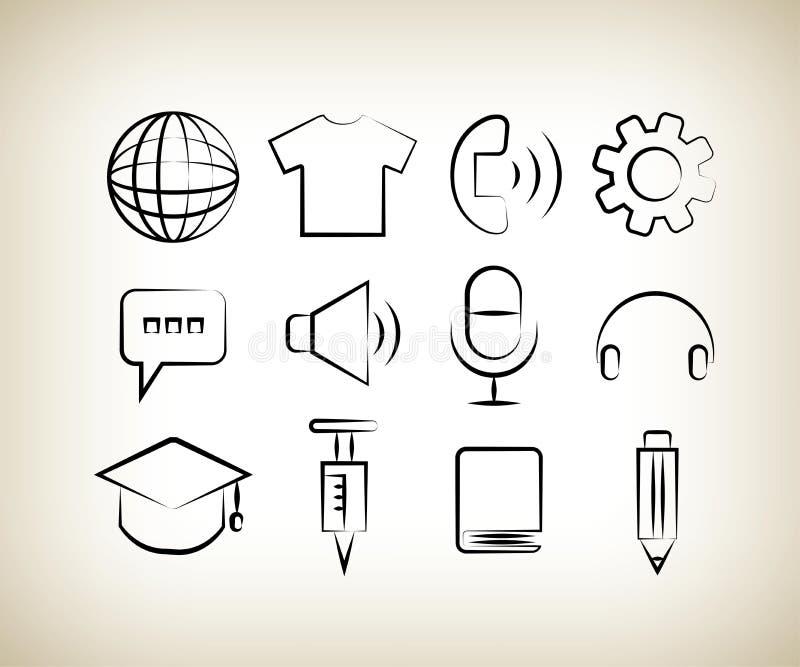 Iconos Handdrawn del web ilustración del vector