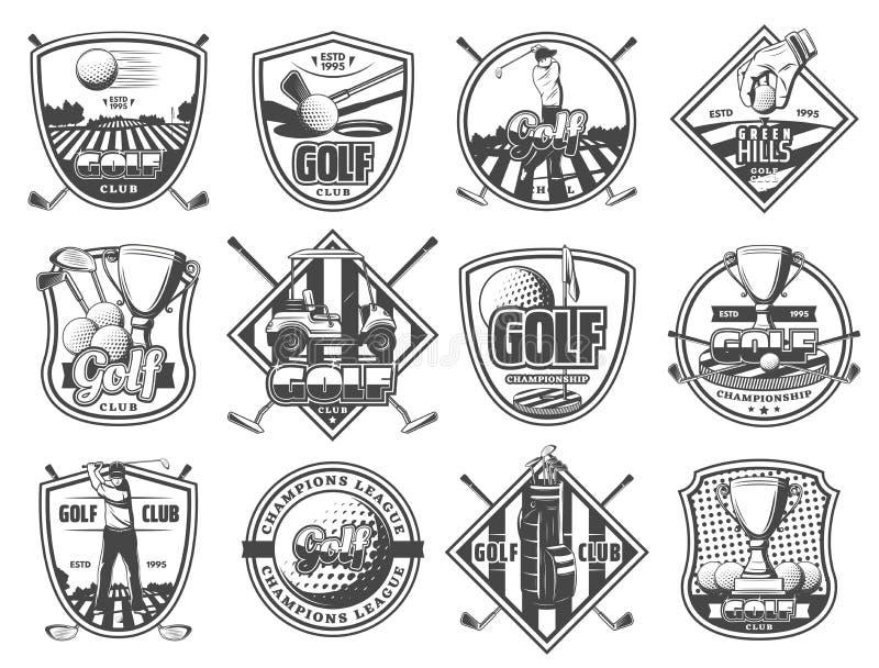 Iconos heráldicos del campeonato del club de deporte del golf libre illustration