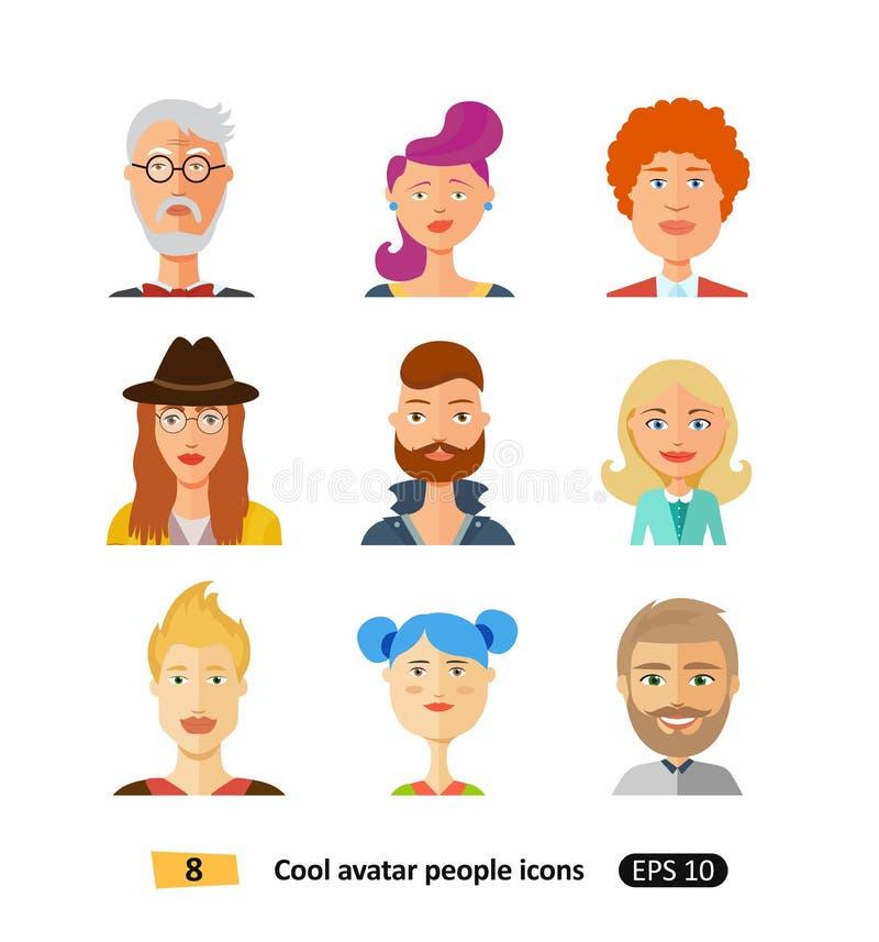 Iconos hermosos elegantes de la gente de los avatares de los caracteres en vector plano moderno del diseño stock de ilustración