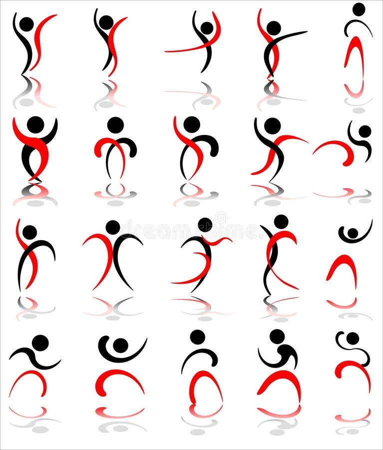 Iconos humanos stock de ilustración