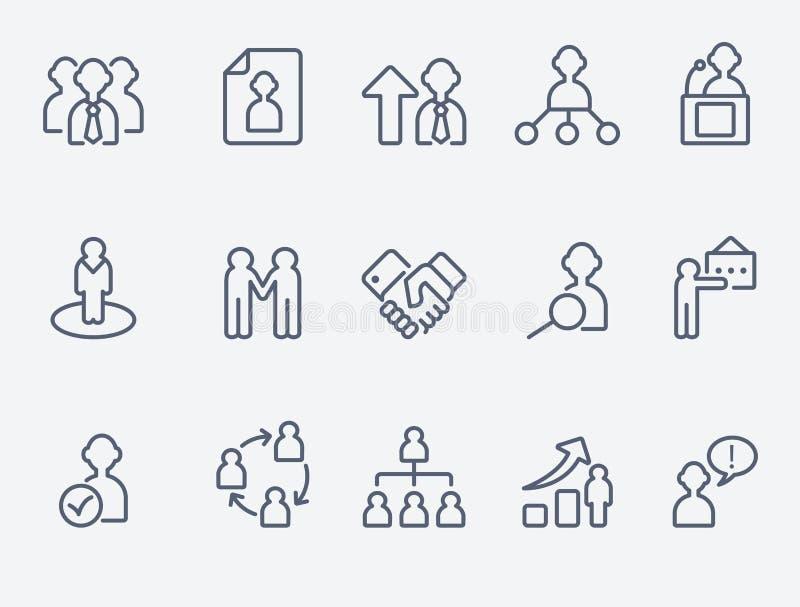 Iconos humanos de la gestión stock de ilustración