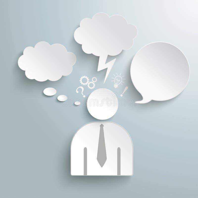 Iconos humanos de papel PiAd de las burbujas del discurso y del pensamiento ilustración del vector