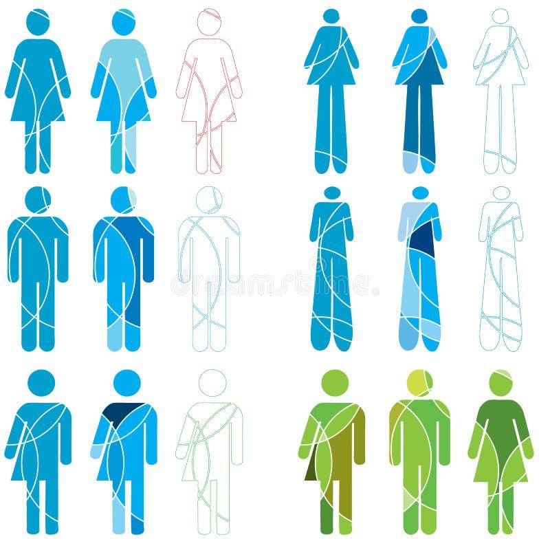 Iconos humanos del género libre illustration