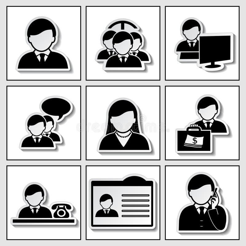 Iconos humanos - hombre de negocios, comunidad ilustración del vector