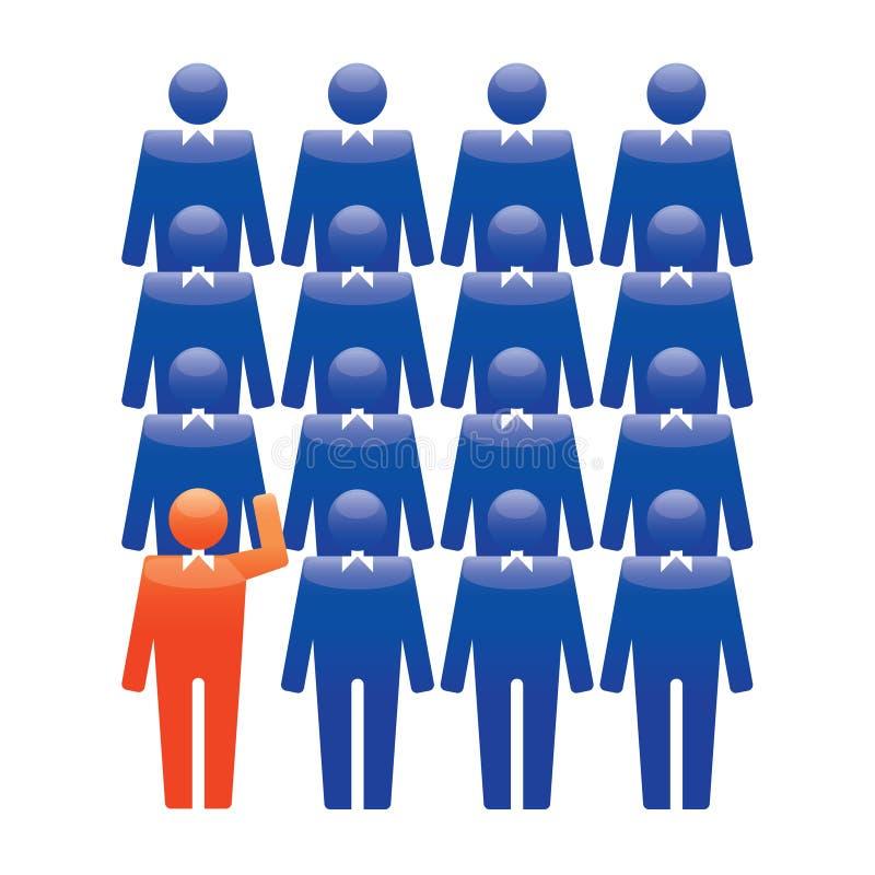 Iconos humanos Ilustración del vector Equipo y líder de la oficina stock de ilustración