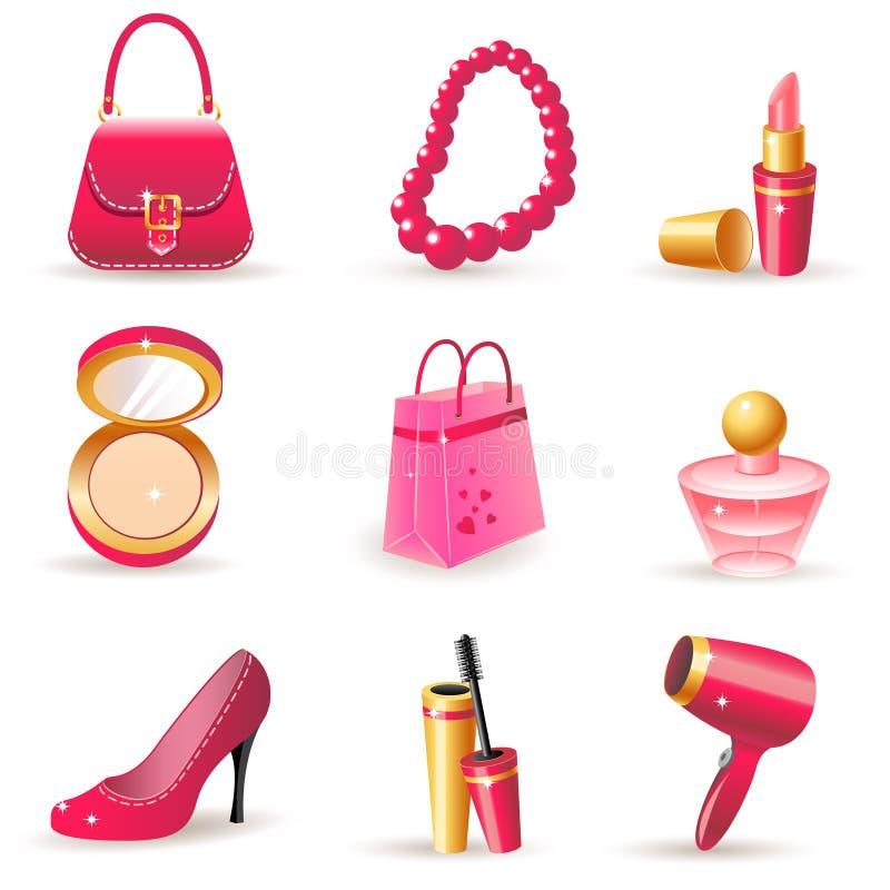 Iconos ideales de la señora stock de ilustración
