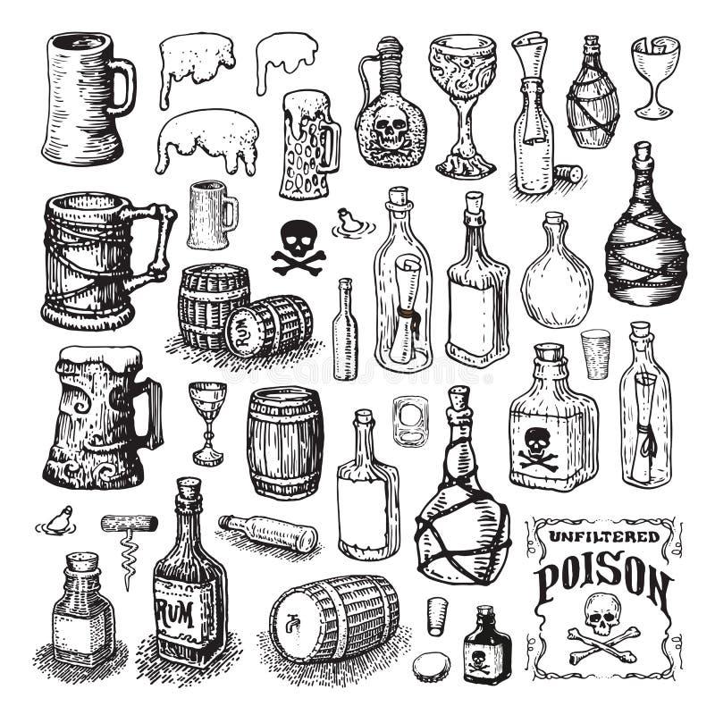 Iconos ilustrados de la botella y del barrilete stock de ilustración