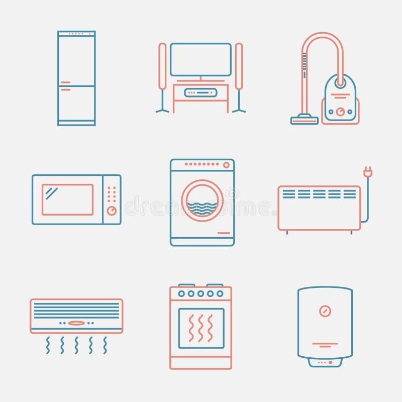 Iconos importantes de los dispositivos Línea estilo fina Diseño plano moderno libre illustration