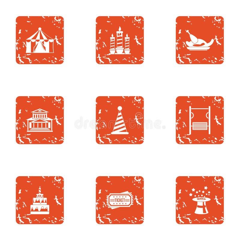 Iconos importantes fijados, estilo del día de fiesta del grunge libre illustration