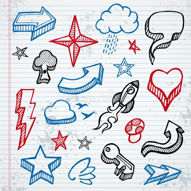 Iconos incompletos stock de ilustración