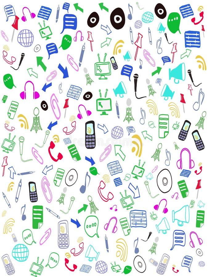 Iconos inconsútiles del Web del doodle ilustración del vector