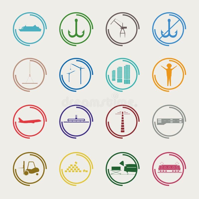 Iconos industriales y logísticos del color libre illustration